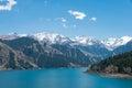 XINJIANG, CHINA - May 09 2015: Heaven Lake of Tian Shan(Tianchi). a famous World Heritage site in Fukang, Changji, Royalty Free Stock Photo