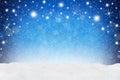 Xmas background blue snow Royalty Free Stock Photo