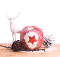 Xmas background with red apple and deer for holiday card Stock Image