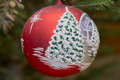 Xmas bauble on tree colorful and decor Royalty Free Stock Image