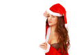 Xmas billboard alluring girl in santa dress with copy space Stock Images