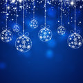 Xmas blue background abstract with balls bokeh and glitter lights Royalty Free Stock Photography