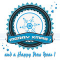 Xmas blue badge isolated with the text merry Royalty Free Stock Images