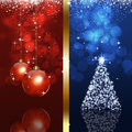 Xmas blue and red background holiday magic with balls tree Stock Images