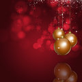Xmas bright red background holiday with golden balls Royalty Free Stock Images