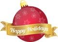 Xmas Bulb Red Happy Holidays