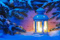 Xmas candle light lantern romantic in snow Stock Photography