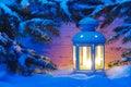 Xmas candle light lantern Royalty Free Stock Photo