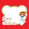 Xmas card with cute bear cartoon on bear head frame, Xmas postcard, wallpaper, and greeting card