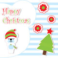 Xmas card with cute bear flowers, and tree cartoon on blue striped background, Xmas postcard, wallpaper, and greeting card