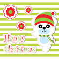 Xmas card with cute bear and flowers vector cartoon on striped background, Xmas postcard, wallpaper, and greeting card