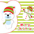 Xmas card with cute bear and snowman cartoon on green striped background, Xmas postcard, wallpaper, and greeting card