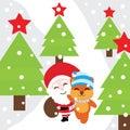 Xmas Card With Cute Fox And Sa...