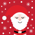 Xmas card with cute Santa Claus cartoon on red background, Xmas postcard, wallpaper, and greeting card