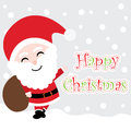 Xmas card with cute Santa Claus cartoon on snow background, Xmas postcard, wallpaper, and greeting card