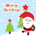 Xmas card with cute Santa Claus cartoon on Xmas tree background, Xmas postcard, wallpaper, and greeting card