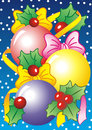 Xmas card a illustration with colorful balls holly and ribbons Royalty Free Stock Photo