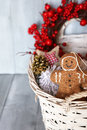 Xmas card photo of basket with christmas decorations Stock Photo