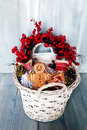 Xmas card photo of basket with christmas decorations Stock Photography