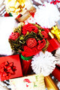 Xmas card photo of basket with christmas decorations Royalty Free Stock Photos