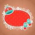 Xmas card with wool hat and mittens cute winter invitation cartoon warm Royalty Free Stock Photos