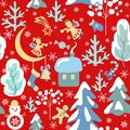 Xmas childish red wallpaper with seamless paper cutting pattern with snowy firs and trees, little angels, house, snowman and ginge