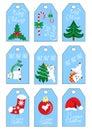 Xmas christmas new year holiday season gift tags set nine gift tags blue color