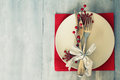 Xmas crad christmas day greeting card with plate knife and fork Royalty Free Stock Photos