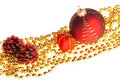 Xmas decoration on beads lying diagonally Royalty Free Stock Photo