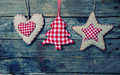 Xmas decoration photo of christmas decorations on wooden background Stock Photos