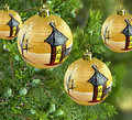 Xmas decorations pine tree gold bauble balls Royalty Free Stock Photography