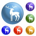 Xmas deer icons set vector