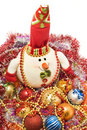 Xmas - Funny white snowman and decoration balls Royalty Free Stock Photos