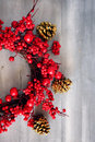 Xmas garland photo of christmas on wooden background Stock Images