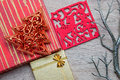 Xmas gifts on wood background Stock Images