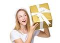 Xmas girl guess the thing in big gift box Royalty Free Stock Photo