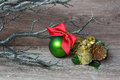 Xmas green ball on wood Stock Image