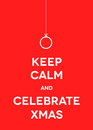 Xmas greeting card christmas keep calm and celebrate vector illustration Stock Photos