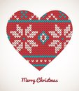 Xmas heart ornaments seamless knitted background christmas Stock Images