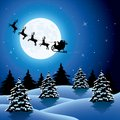 Xmas holiday background with santa claus and reindeers. vector Royalty Free Stock Photo