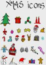 Xmas icons merry christmas on grey background Stock Photography