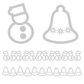 Xmas icons snowman and bell christmas design elements Stock Photography