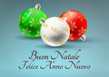 Xmas italian illustration of christmas balls with merry christmas in language Royalty Free Stock Photos