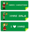 Xmas labels with pixel characters Stock Photo