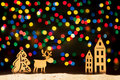 Xmas lights stars, Christmas tree, vintage decoration, deer and Royalty Free Stock Photo