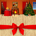 Xmas and New Year greeting card with a red bow and holiday inter Royalty Free Stock Photo