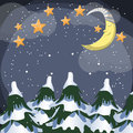 Xmas night vector scene with moon and stars Royalty Free Stock Photography