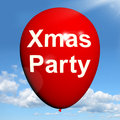 Xmas party balloon shows christmas festivity showing and celebration Stock Photos