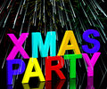 Xmas Party Words With Fireworks Stock Images