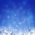 Xmas romance abstract christmas celebration background with trees and snowflakes Stock Photo